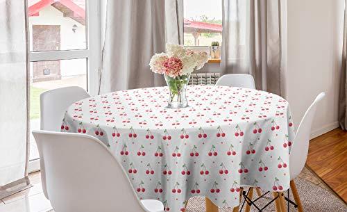 ABAKUHAUS Cerise Nappe Ronde, Fruits d'été et à Pois, Nappe en Cercle pour Salle à Manger ou Cuisine, 150 cm, Corail Blanc