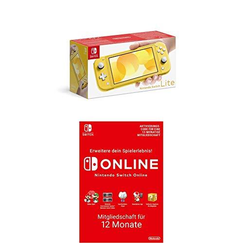 Nintendo Switch Lite, Standard, gelb + Nintendo Switch Online Mitgliedschaft 12 Monate (Download Code)