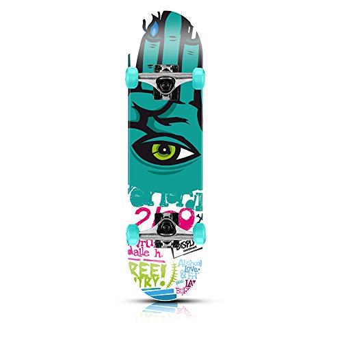 WRISCG Skateboard Komplett Board, Funboard Skateboard 79x20cm Holzboard, 9-lagigem Ahornholz, ABEC-7 Kugellager, 85A PU Rollen, für Anfänger Kinder Jugendliche und Erwachsen, E