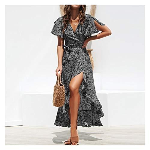 XLDQJPN 夏のビーチマキシドレスがbohoロングシフォンドレスの女性の花Vネックフリルラップカジュアルスプリットセクシーなパーティードレスを印刷します (Color : Black, Size : Large)