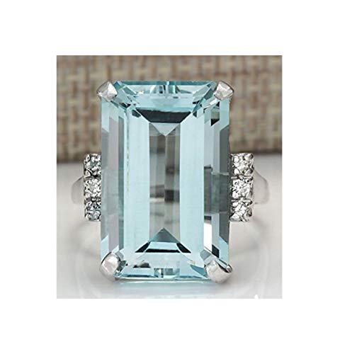 Anillo de plata de ley 925 con piedras preciosas de aguamarina vintage, hermoso anillo de boda para mujeres y niñas de gama alta, adecuado para cualquier ocasión, tamaño (8)