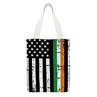 アイルランド系アメリカ人の旗ファッションキャンバストートバッグ大容量レディースショルダーバッグハンドバッグショッピングバッグ買い物袋32x38cm