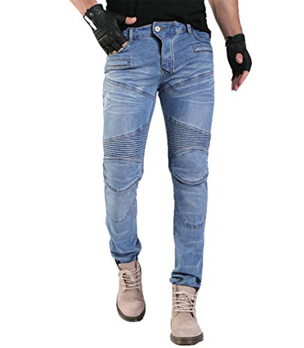 YuanDian Hombre Pantalones Vaqueros De Moto Mezclilla Jeans De Moto Pantalon Motociclista con Protecciones de Rodilla y Cadera Stretch Slim Fit Cargo Tejanos Pantalon Azul 37W / 34L