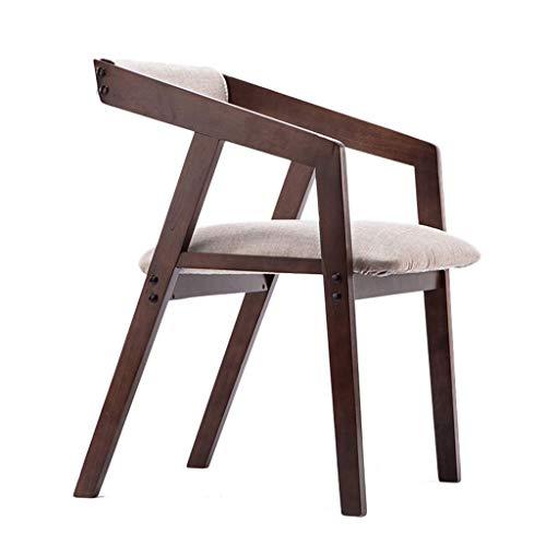 KMMK Bar, cafetería, silla de restaurante, reposabrazos de madera maciza, silla acolchada, cuero acolchado, desayuno casero multicolor (tamaño: 52 × 52 × 76 cm),# 3