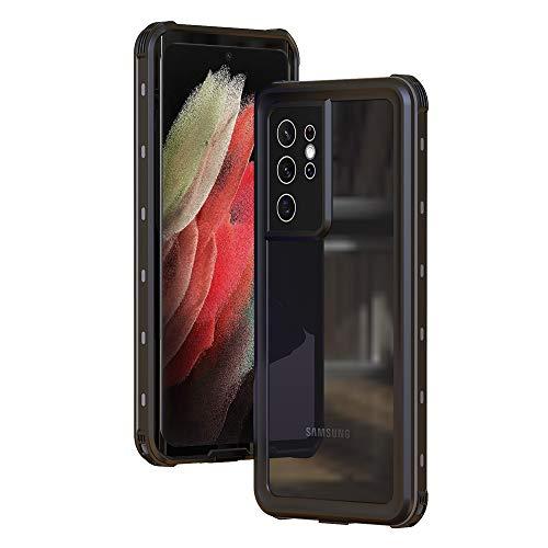 Eabhulie Cover Impermeabile Galaxy S21 Ultra 5G, IP68 Certificato Waterproof 360 Gradi Full Body Copertura a Schermo Intero Antiurto Antineve Subacquea Custodia per Samsung Galaxy S21 Ultra 5G Nero