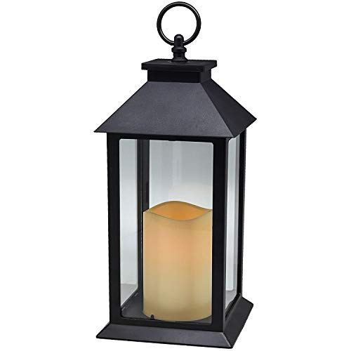 YAKii Hanging Glass Panes Lantern Portable Led Candle Light Operated by 3AAA Batteries for Garden Yard, Indoor & Decoration(Black)