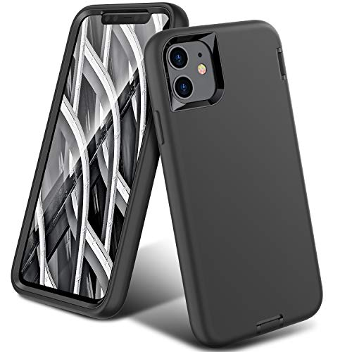 ORIbox Liquid Silicone Case for iPhone 11, Shockproof Anti-Fall Protective case, Soft-Touch Finish of The Liquid Silicone Exterior Feels, Black