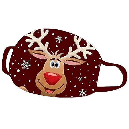 KJC 1 Stücke Weihnachts Mundschutz Tuch Erwachsene Baumwolle Waschbare Atmungsaktiv Lustig Bunt Mit Motiv Mund und Nasen Maske und Nasenschutz Halstuch (A - 2)