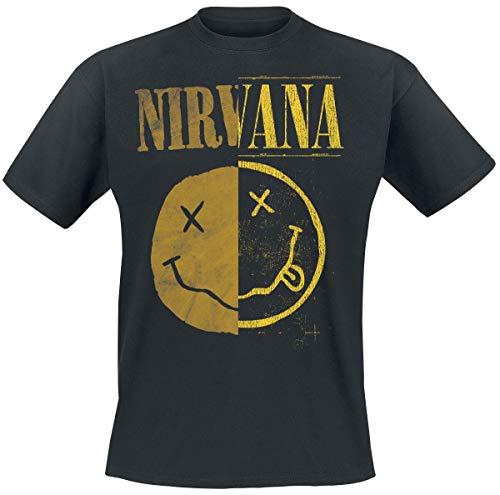 Nirvana Spliced Smiley Hombre Camiseta Negro XL, 100% algodón, Regular