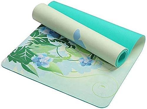 EVEYYGD 5 MM Lotus Pattern Tapis de Yoga en Daim TPE Tapis de Prougeection Anti-dérapant pour Exercices de Fitness Tapis de Gymnastique pour la Musculation Esterilla Pilates, Papillon Vert, Russie