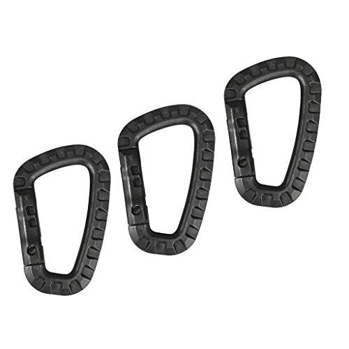 MagiDeal 3pcs Mousqueton Simple Porte-clé De Bagage Camping Boucle Crochet Clip Carabiner - Noir, 8,5 x 5,6 cm
