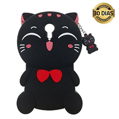 YINGE Funda Wiko Robby Silicona 3D Flexible Cute Cartoon Gato Animales Antigolpes Anti-Rasguño Anti-Arañazos Caso Grande Protectora Carcasa para Niños Niñas Mujer (Negro)