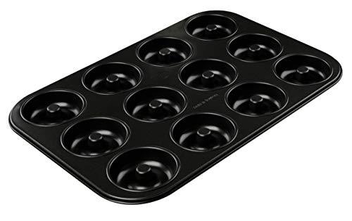 DR OETKER Molde repostería   Molde roscos   Molde para donuts   Molde bagels con 12 cavidades en acero con revestimiento antiadherente, color negro, 26,5x38,5x2,4cm, 1ud. TRADITION