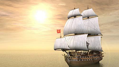 KCHUEAN 1000 Stück Puzzles Für Erwachsene Schiff Im Ozean Beleuchtet Von Der Sonne Holz Montage Dekoration Für Das Heimspielzeug Spiel Lernspielzeug Für Kinder Und Erwachsene