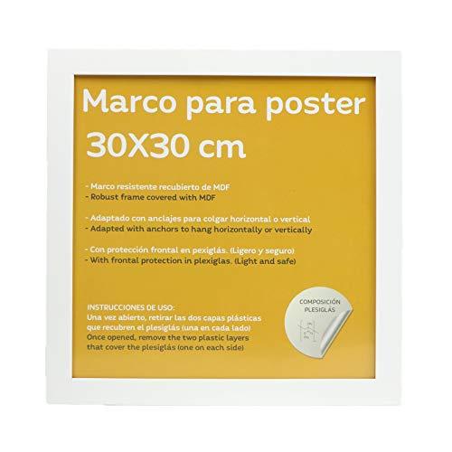 Marco blanco para fotos, posters, láminas, diplomas. Tamaño(30x30 cm).Robusto de MDF y frontal de plexiglas.Marco blanco para colgar de alta calidad.