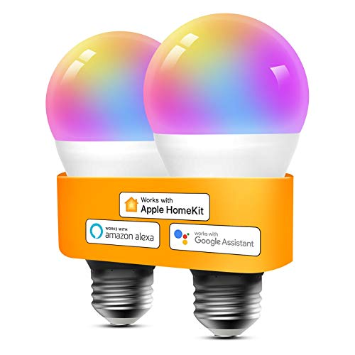 Smart Light Bulbs Apple HomeKit - Color Changing Smart Bulbs Compatible with Siri, Alexa and Google Home, A19 LED Bulb, E26 Fitting, 2700K-6500K Dimmable, 9W 810 Lumens, 2 Pack