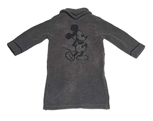 Barefoot Dreams CozyChic Unisex Kids Classic Mickey Mouse Zip-Up Robe Disney Series Carbon/Black