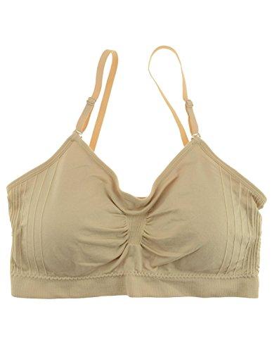 Women's Bralette Sports Bra Tank Top Cami Convertible Straps, Nude, Size Onesize