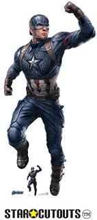Star Cutouts SC1309 Marvel Captain America Chris Evans 189cm Tall Avengers Endgame Lifesize Cardboard Free Desktop Figure, Multicolour