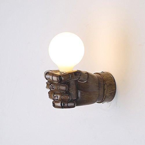 Lampes murales industrielles rétro, European Village LED poing en résine suspendu lumière murale lumière Creative étude bar escalier Applique murale, Noir (Color : Wood Color, Design : Left hand)