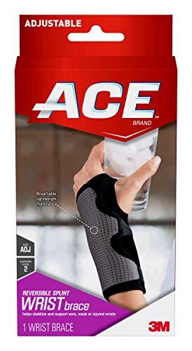 ACE-209623 Reversible Splint Wrist Brace, Satisfaction Guarantee, One Size Fits Most-Black