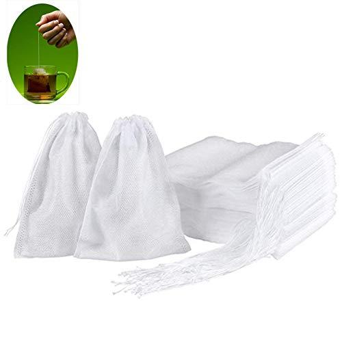 MOTZU 1000 Stück weiße Einweg-Teebeutel mit Drawstring |5,5*6cm| Sicheres & natürliches Material | Leere duftende Teebeutel, Heißsiegel-Filterpapier für Kräuter, loses Teesieb, Obsttee Suppen Tütchen