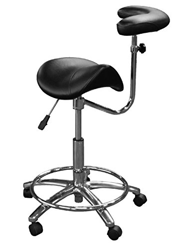 Dentists Unite 4025 Professional Dental Stool with Adjustable Body Support Arm, Comfort Saddle Series, Assistant Stool, Ergonomic, Black