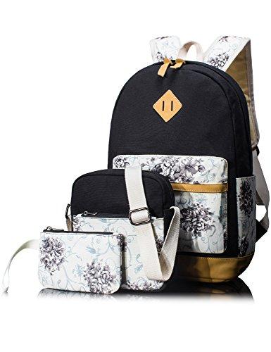 Leaper Segeltuch Retro Blumen Schulrucksack Kinderrucksack Schultasche Set
