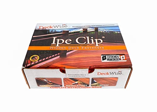 professional DeckWise (Black) Ipe Clip Extreme 4 Hidden Deck Mount, 5/32 inch, Gap, SST, Black # 8 x 2 inch 100 sqm Shear Head Screw Feet. Hardwood AD and KD, heat resistant or composite deck (175 ct set)