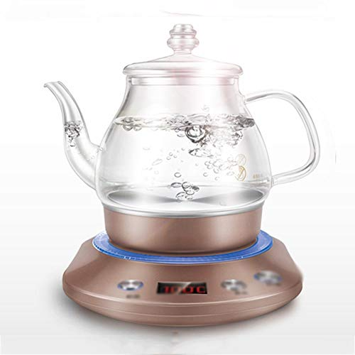 PU Electric Kettle Kettle Electric High Borosilicate Glass Brown Double Ti-Hot 1000W 1.0L High Capacity Separable Base Automatic Power Off Insulation Home Travel Easy to Move,Fast Boi