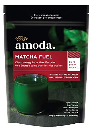 MATCHA + MACA + CORDYCEPS + PINE POLLEN + ELEUTHRO - An all natural organic pre-workout and energy blend MATCHA FUEL by AMODA. A powerful blend of adaptogenic mushrooms and superherbs to boost energy,