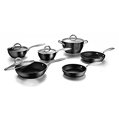 COOKSMARK Diamond Nonstick Induction Scratch-Resistant Cookware Set, Pots and Pans Set Dishwasher Safe with Glass Lids, 10-Piece, Black