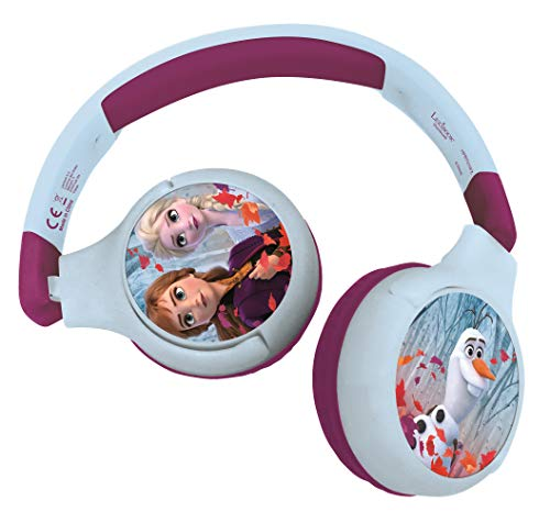 LEXIBOOK- Auriculares Bluetooth 2 en 1 Frozen Disney Elsa Anna Olaf-Estéreo inalámbrico, Seguro niñas, Plegable, Ajustable, Azul/Morado, Color, (China)