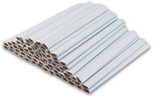 White Carpenter Pencils – (72) Count Bulk Box - Ten Color Choices, 2 Lead