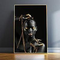 """ポスターとプリントモダンアートゴールデンメイクアップ黒人女性キャンバス絵画壁の装飾スカンジナビアモデル壁アート写真40x55cm(16""""x22"""")フレームなし"""