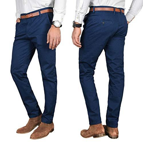 A. Salvarini Herren Designer Business Chino Hose Chinohose Regular Fit AS-095 [AS-095 - Dunkelblau - W36 L32]