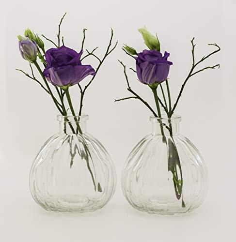 casavetro - Juego de 12 jarrones pequeños de Cristal (12 Unidades), diseño de Flores