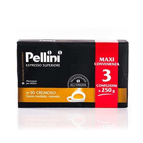 Pellini Caffè - Espresso Superiore per Moka, Gusto N. 20 Cremoso, Confezione da 3x250g (Totale 750 g)