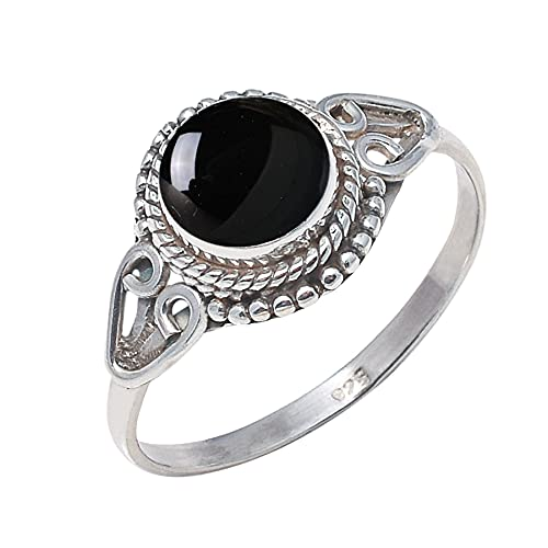 925 Sterling Over item handling ☆ Silver Black Onyx Ring US 6 - Stone Genuine Free Shipping Size