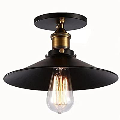 Injuicy Lighting Edison Bulbs Vintage Industrial Iron Metal Semi Flush Mount Retro Antique Mini Brass E27 Led Socket Ceiling Lamp Light Fixtures Shade 1-Light Cafe Bar Dining Living Room Black