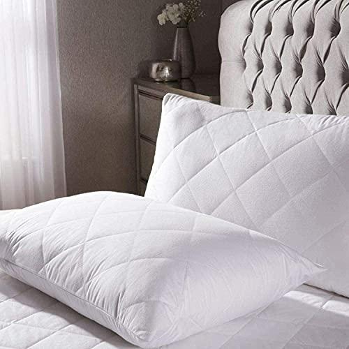Zalic Juego de 2 almohadas acolchadas de fibra hueca de alta calidad | Almohada suave y antialérgica con funda acolchada protectora