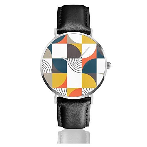 Bauhaus-Stil Schwarz Quarzwerk Edelstahl Lederband Uhren Casual Fashion Armbanduhren