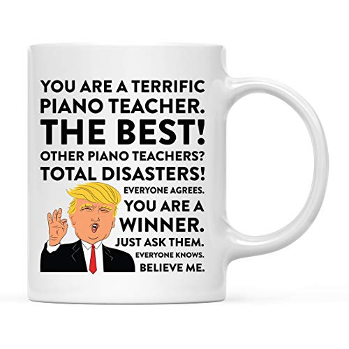 Andaz Press 11oz. Funny President Trump Coffee Mug Gag Gift, Piano Teacher, 1-Pack, Includes Gift Box, Christmas Birthday Graduation Gift Ideas