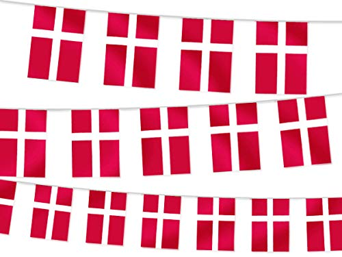 Alsino Wimpel Dekoration Länderwimpel Länderfahnen Wimpelkette Länderflaggen Fanartikel, wählen:W-DNK Wimpel Dänemark 4.50 m