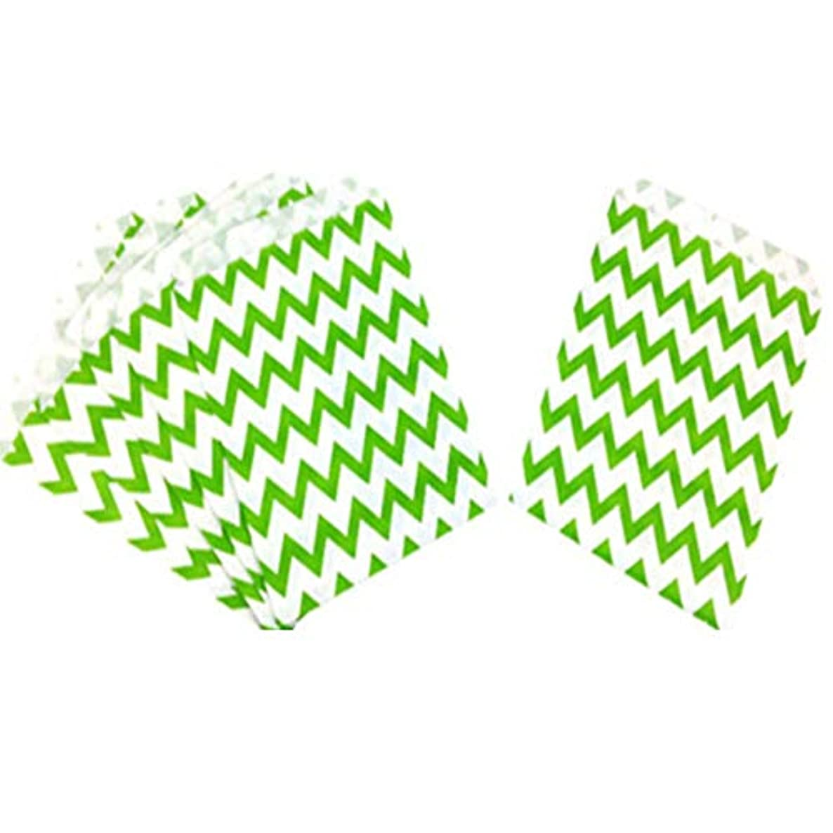 Tvoip 50 Pcs 5 x 7 Inches White and Green Wave Paper Bags,Holiday Wedding Christmas Favor Candy Treat Bags