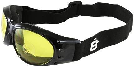 Birdz Eyewear Eagle Motorcycle Goggles (Black Frame/Yellow Lens)