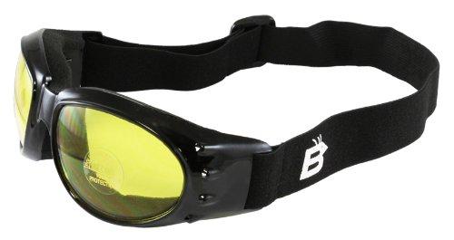 Birdz Eyewear Eagle - Occhiali da moto (montatura nera/lente gialla)