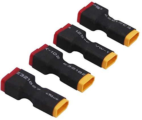 4パックDeans TプラグメスコネクタはXT30オスコネクタ変換アダプターに変換します RC Lipoバッテリー用