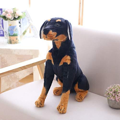 huobeibei Perro Pastor muñecas Suaves Juguetes de Peluche para Perros Animales de Peluche simulación Perro Rottweiler Negro Juguetes de Peluche niños Playmate bebé 54cm A