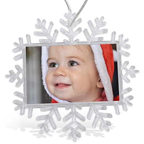 Turquoise Personalised Photo Christmas Xmas Tree Snowflake Bauble...